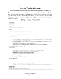 Sample Resume For Teacher Job by Teachers Resume Samples Free
