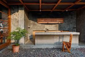 cosy cuisine design interieur cuisine toit terrasse couverte bar beton cire