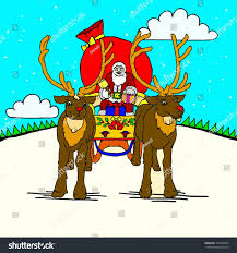 deliver presents santa claus his reindeer stock vector 153468020
