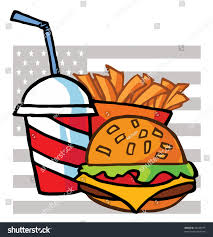 French And American Flags Drink French Fries Cheeseburger American Flag Stock Vector