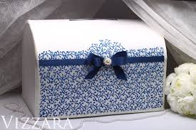 Money Wedding Gift Card Box Navy Blue Wedding Color Hand Painted Money Box Gift