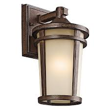 kichler outdoor lighting lowes shop kichler atwood 11 in h brown stone outdoor wall light at lowes com