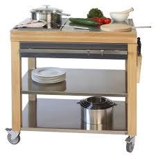 cuisine tout inox billot en bois tout inox plan de travail et façade cookmobil