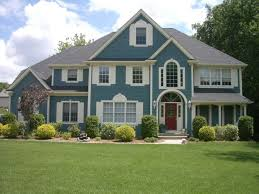 blue exterior house paint with exterior painting and powerwashing