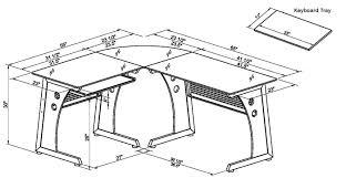 L Shaped Desk Dimensions Glass L Shaped Desk Zline Belaire Glass Lshaped Computer Desk