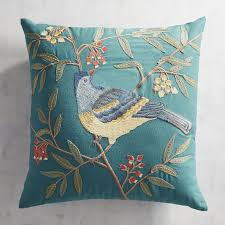 Pier One Pillows And Cushions Embroidered Bird With Tuscan Flowers Pillow Pier 1 Imports