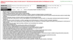 occupational health and safety technician resume sample