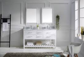 Virtu USA Caroline Estate  Double Bathroom Vanity Set In White - Virtu usa caroline 36 inch single sink bathroom vanity set