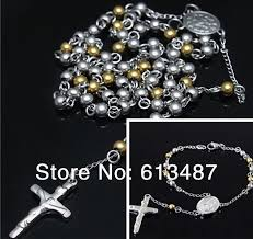 rosary store silver 18k gold plated stainless steel 4mm cross rosary
