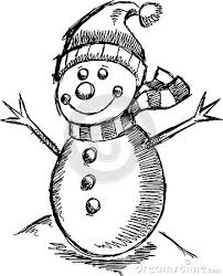 cute holiday winter sketch snowman royalty free stock photo