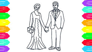 how to draw bride and groom wedding coloring pages for kids youtube