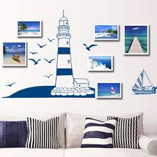 removable wall sticker blue sailing boat tower photo art decals