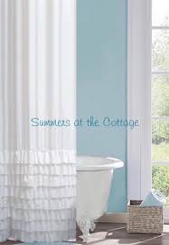 Turquoise Ruffle Curtains Shabby Chic Beach Cottage Shower Curtains White Ruffles Pink Roses