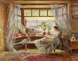 Thanksgiving Window Paintings Reading By The Window Painting By Charles James Lewis