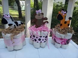 3 mini diaper cakes baby shower centerpiece monkey giraffe