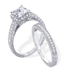 engagement ring and wedding band set platinum and diamond engagement ring and wedding band set by kirk kara