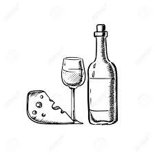 bottle of wine with wineglass and slice of cheese in sketch style