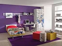 bedroom splendid simple white computer table purple wall paint