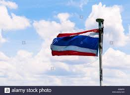 Flag Of Thailand Waving Thai Flag Of Thailand With Blue Cloudy Sky Background Stock