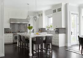 White Kitchen With Glossy Gray Linear Backsplash Tiles - Linear tile backsplash