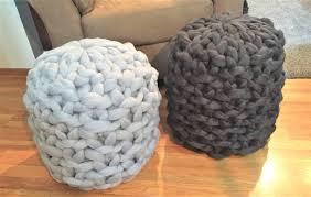merino wool ottoman chunky knit ottoman knitted pouf floor