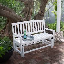 Garden Loveseat 4 Ft Outdoor Patio Glider Chair Loveseat Bench In White Wood