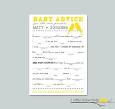 baby shower advice cards baby shower advice card mad libs yellow birds