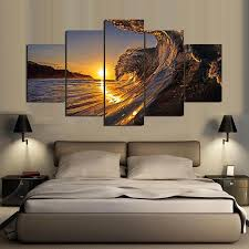 golden waves sunset surf 5 panel canvas wall art home decor