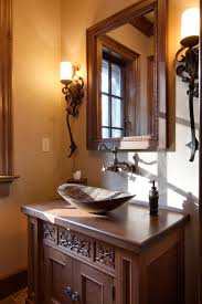 Vessel Faucets Oil Rubbed Bronze Eclectic Powder Room With Wall Sconce By Morgan Keefe Builders