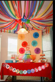 Carnival Themed Table Decorations Circus Tent Streamers Above Painting Table Lilly U0027s 10th
