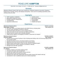 Warehouse Worker Resume Example by Free Sample Resume For Warehouse Worker Summary Of Qualifications