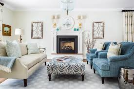 a dark living room refreshed with cream and teal the boston globe
