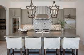 Gray Kitchen Cabinets With White Fan Tile Backsplash - White kitchen cabinets with white backsplash