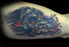 traditional wolf by adam lauricella tattoonow