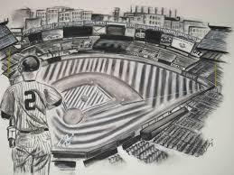 original yankees stadium drawing in charcoal stylish creations