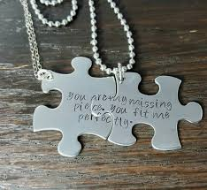 engrave your own necklace personalize your own his and puzzle necklace set