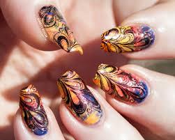 sunset n swirls smoosh and stamping nail art kimett kolor