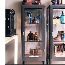 Ikea Cabinet Glass Doors Ikea Fabrikor Glass Curio Display Cabinet Gray Industrial Showcase