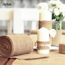 Diy Chair Sashes Aytai 1pc 10m Burlaps Roll Lace Hessian Table Runners For Wedding