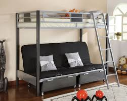 Cletis Silver  Gun Metal Twin Futon Bunk Bed - Futon bunk bed