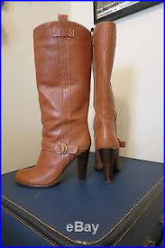 womens brown boots size 9 s brown leather ralph high heel mid calf boots