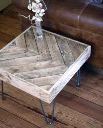 Build Your Own Reclaimed Wood Coffee Table by Upscaled Pallet Chevron Coffee Side Table With Hairpin Legs