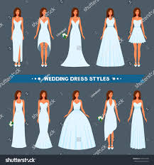 types of wedding dress styles variety styles types fashions wedding dress stock vector 518074138