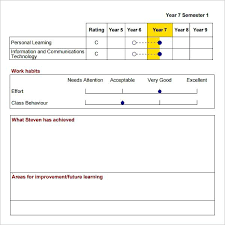 behaviour report template excel report card template report card template for excel and word