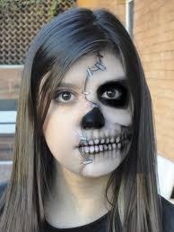 half skull mask halloween half skull makeup step by saubhaya makeup