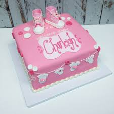 nashville sweets pink baby shower cake with baby converse