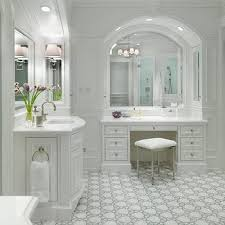 Bathroom Makeup Vanities Master Bath Marble Wainscoting Design Ideas