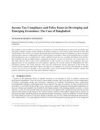 income tax compliance and policy issues in developing and emerging