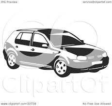 white volkswagen golf clipart illustration of a black and white volkswagen golf car by