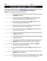 printables pronoun antecedent agreement worksheet ronleyba